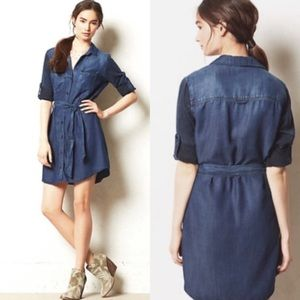 Anthropologie Cloth & Stone Chambray Button Dress